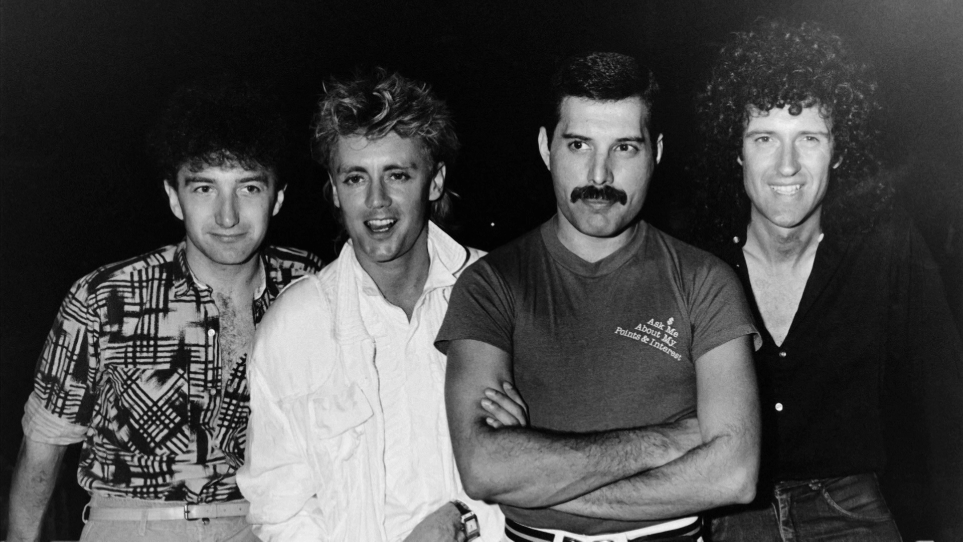 The Freddie Mercury Story: Who Wants to Live Forever - archive image of Queen band together BW