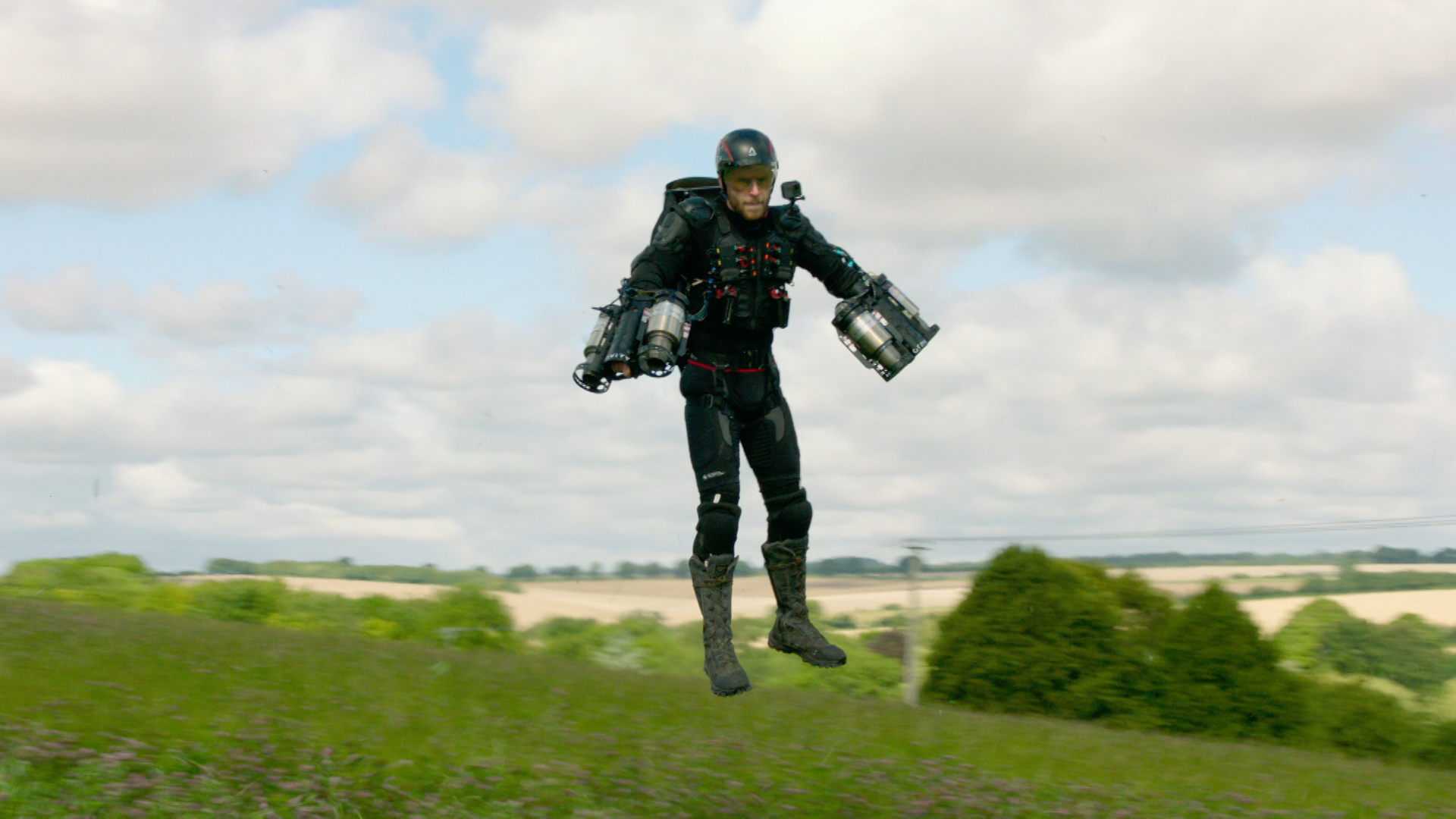 CBBC Beyond Bionic - man flying with jetpack