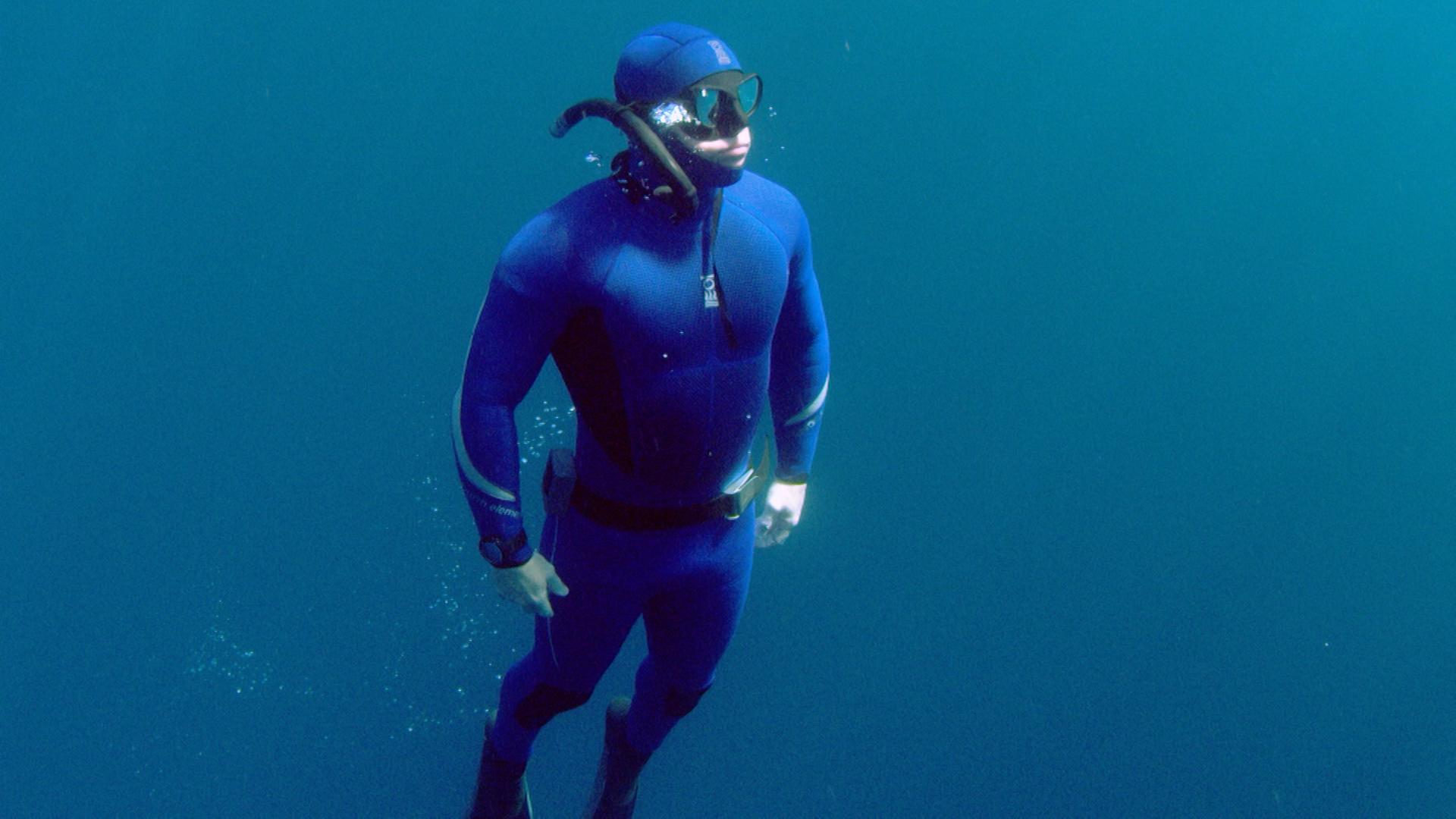 CBBC Beyond Bionic - Andy Torbet snorkelling in wetsuit