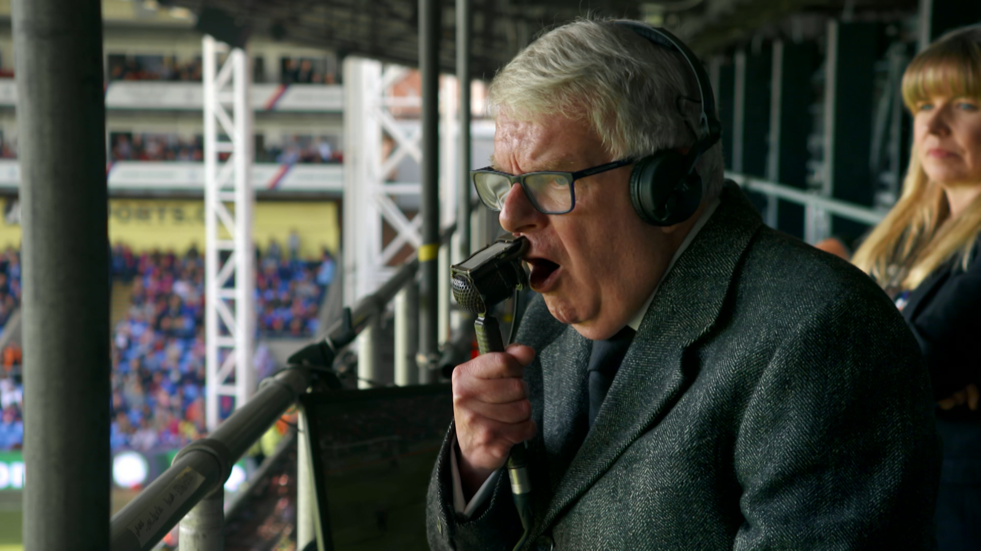 Motty: the man behind the sheepskin - John Motson commentating at Selhurst Park